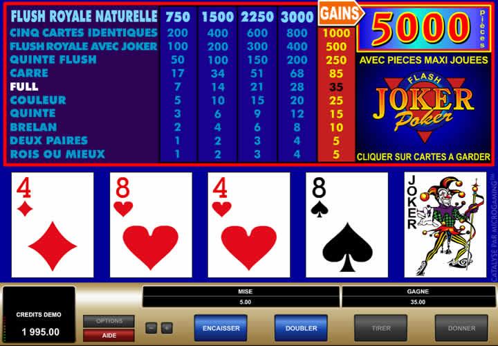 Le Joker Poker est le tableau des combinaisons gagnantes.