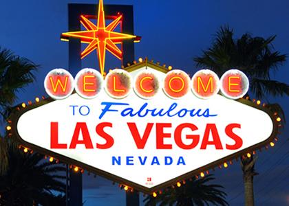 Le panneau d'entrée de Las Vegas - un symbole des casinos du Nevada.