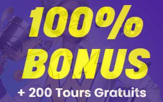 100% bonus + 200 tour gratuit