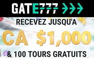 100% bonus + des tours gratuits chez Gate 777