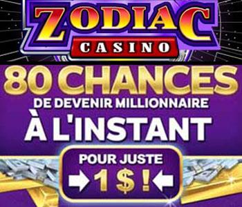 80 tours pour 1 CA$ chez Zodiac Casino